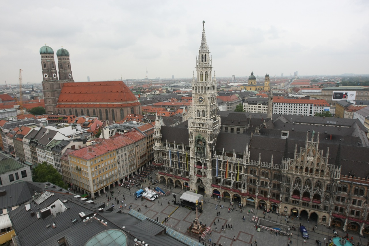 Above Marienplatz – Mary's Square, Munich, Germany.