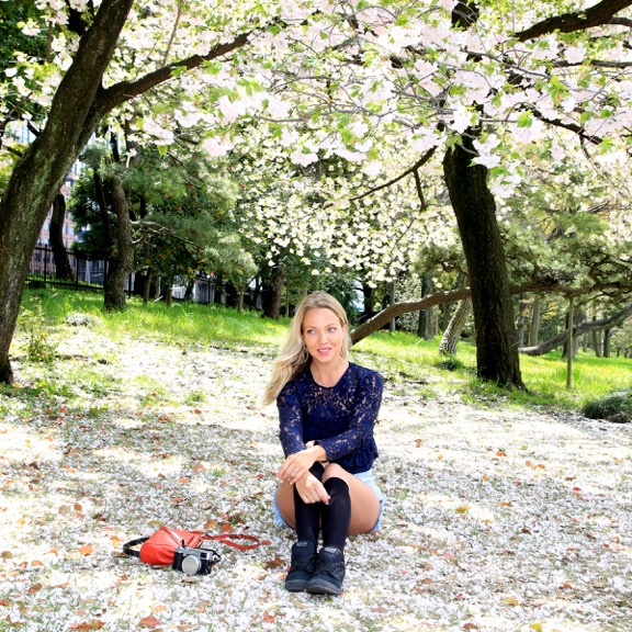 Girl camera Sakura 'Cherry Blossom' Season Tokyo Japan