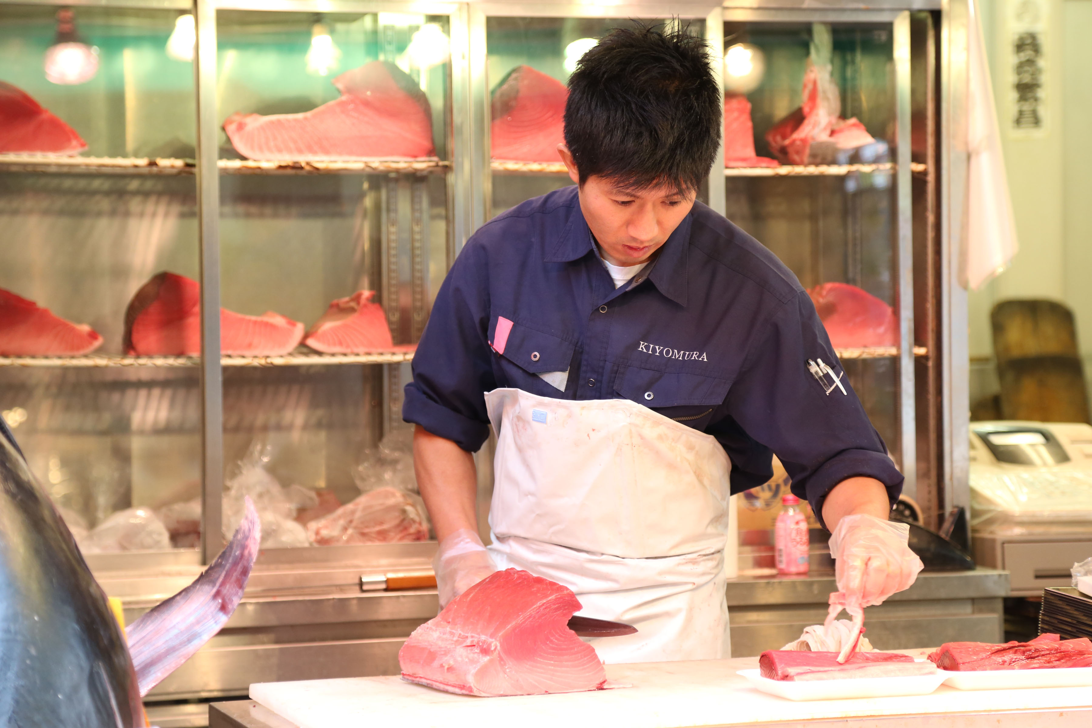 Sushi being prepared,Tsukiji Fish Market, Tokyo, Japan