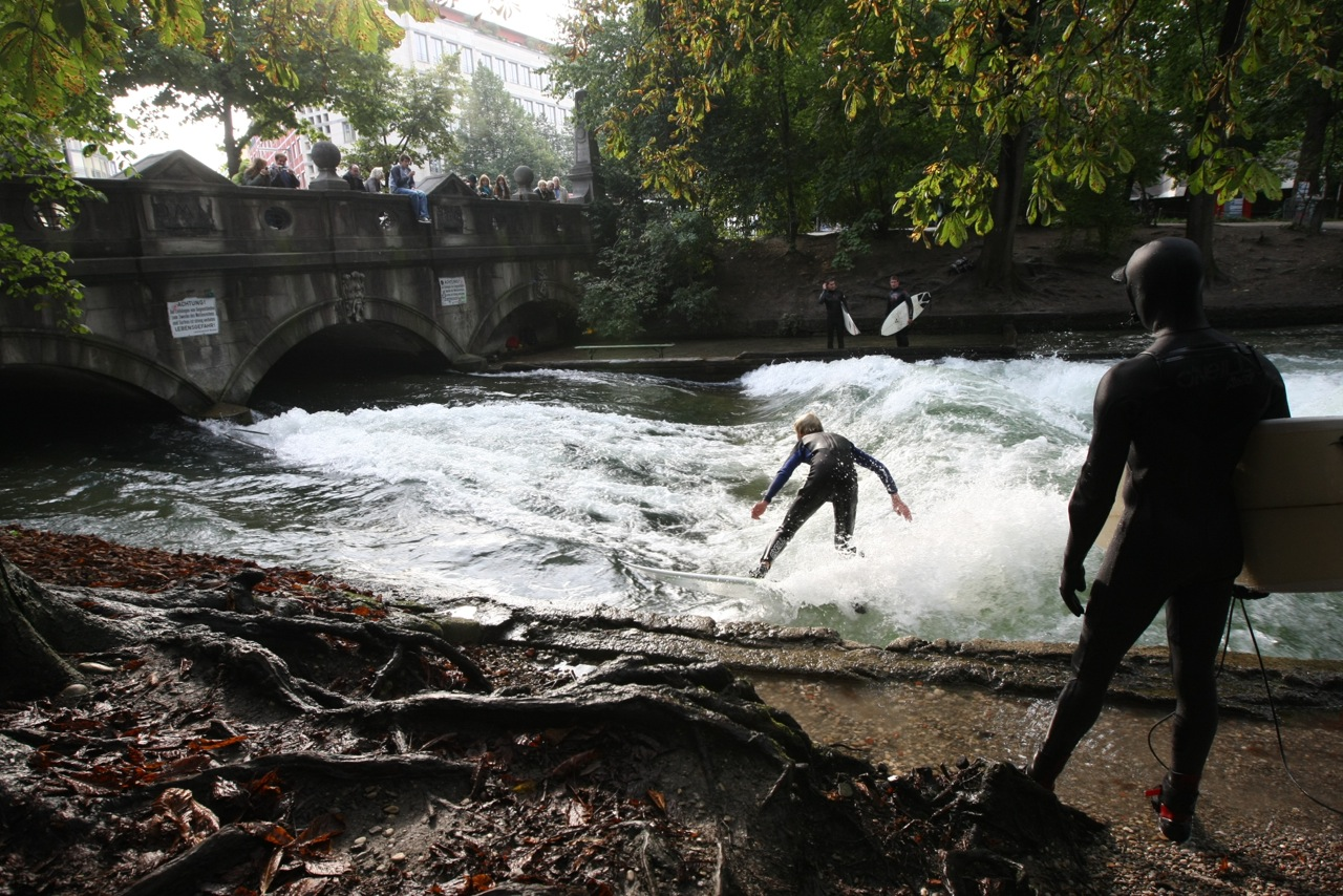 Waiting your turn. River Surfing, Munich, Germany.