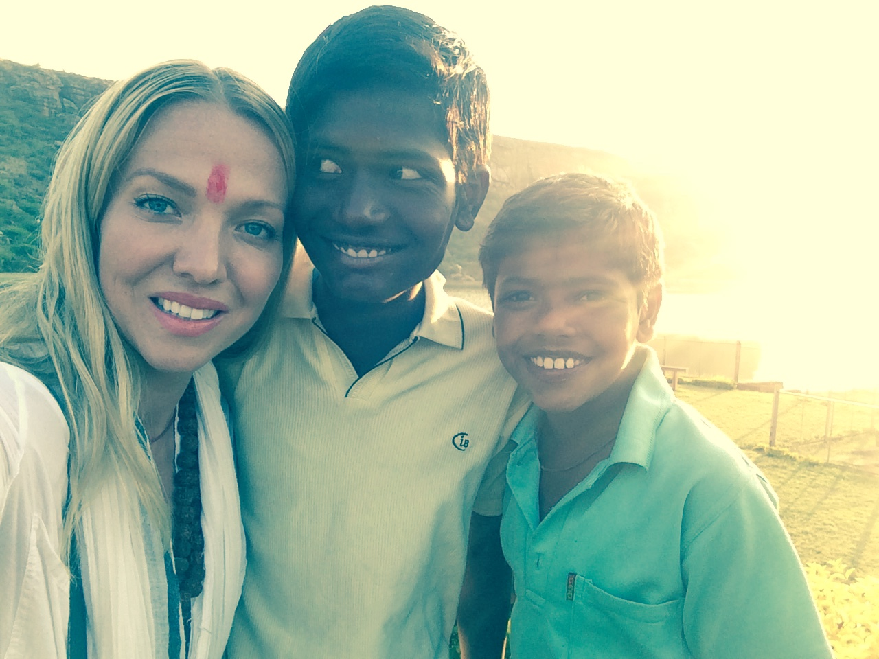 Local children welcome with a smile in Badami India